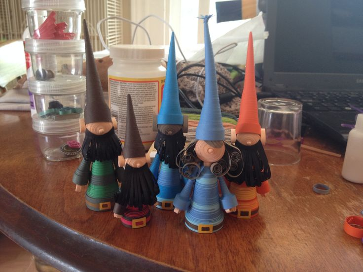 Paper quilled gnomes.