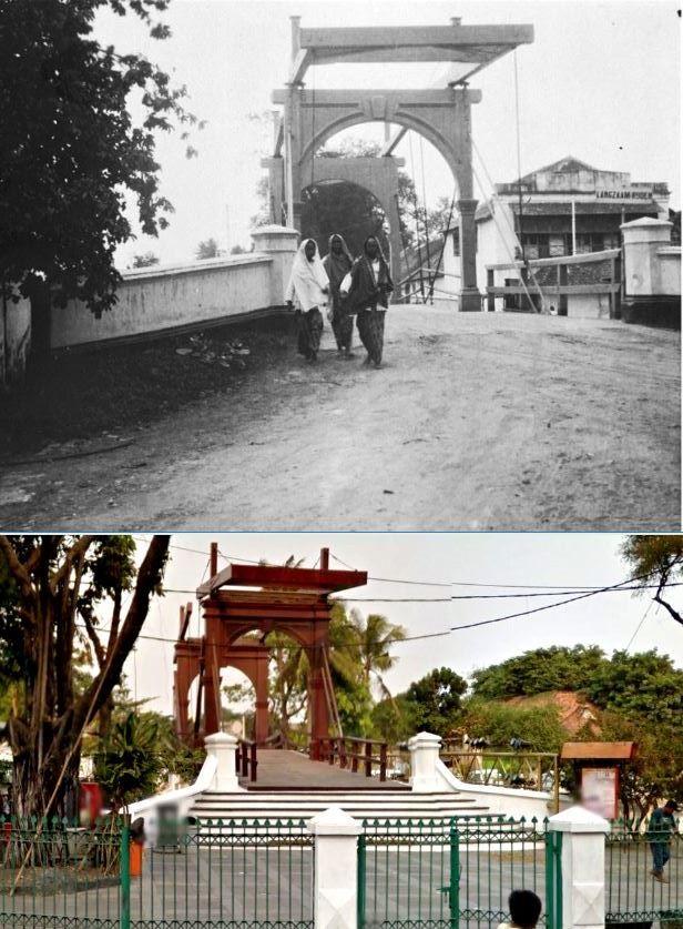 Vrouwen passeren een ophaalbrug over de Kali Besar, Batavia, 1920 , ,., Jembatan Kota Intan, jl Kali Besar, 2015