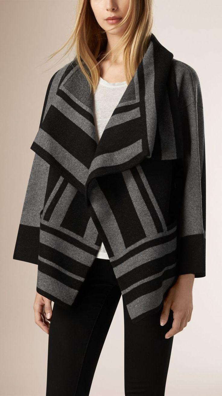 Chaqueta en lana afieltrada y cachemir con estampado gráfico