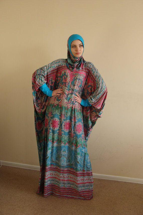 Multi color Maxi Dress Plus Size Prayer dress by ScarfTurbanHijab