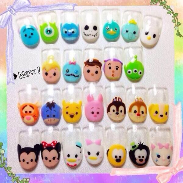 These remind me of the disney tsum tsum teddies. These nails and the teddies are both the cutest things ever !!!!!!
