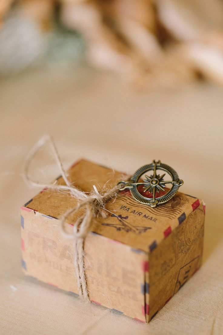 Mini air mail packages were filled with candy from around the world as #wedding…