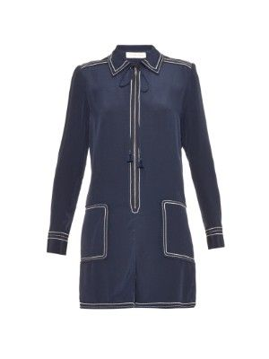 Contrast-trim zip-front playsuit | See By Chloé | MATCHESFASHION.COM