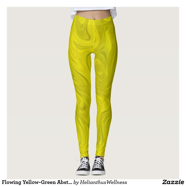 Flowing Yellow-Green Abstract Leggings A flowing liquid yellow-green abstract design. #liquid #abstract #design #yellow #green #flowing #marble #fluid #splash #pattern #leggings #apparel Style AND comfort can both be king in one perfect pair of custom leggings. Custom made with care, each pair of leggings is printed before being sewn, allowing for fun designs on every square inch.  Medium weight fabric is sturdy, yet breathable, stretches to fit your body, hugs in all the right places
