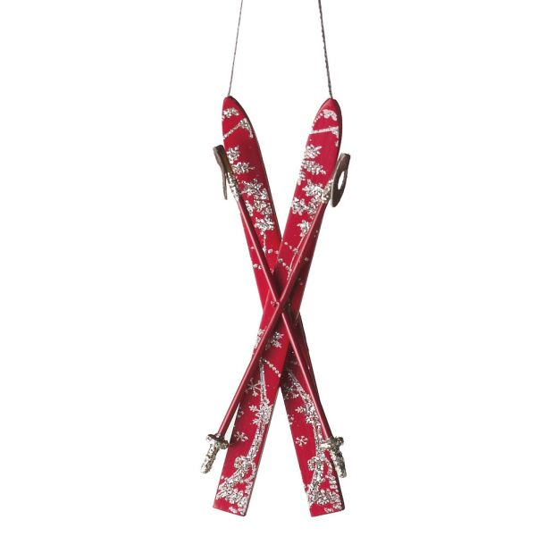 Crossed Skis Christmas Ornament