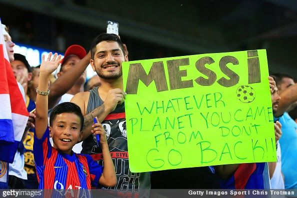 Is Lionel Messi from another planet? Well, this Barcelona supporter certainly thinks so