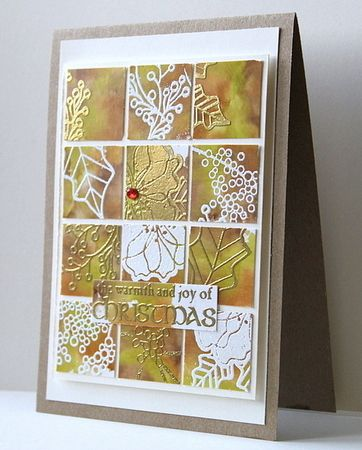 Grids with alcohol inks and stamping with white and gold embossing - 2