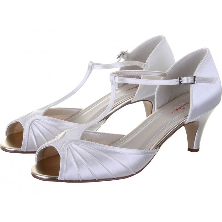 6.25cm. Katy Satin Peep Toe Shoes - Vintage style T-bar with refined pleated detail.   Did you know you can have these shoes hand coloured to any shade? Click on the Colour Studio tab for more information.  £75.00