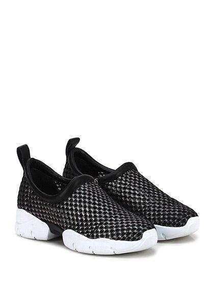 GREY MER - Sneakers - Donna - Sneaker in tessuto lavorato e pelle con retina interna e zip su lato interno. Suola in gomma extra light. Tacco 40, platform 25 con battuta 15. - NERO\NIKEL