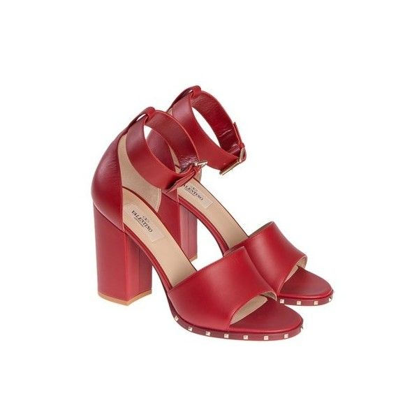 Valentino Leather Sandals ($791) ❤ liked on Polyvore featuring shoes, sandals, red, ankle tie sandals, red ankle strap sandals, valentino shoes, high heel sandals and high heel shoes