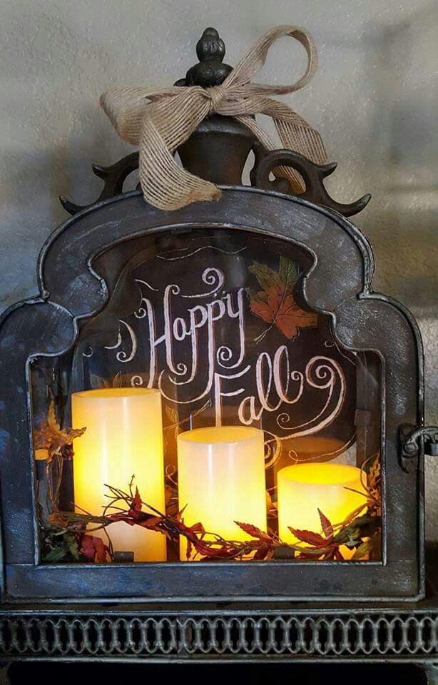 Lantern is from Hobby Lobby in Albany Oregon , the candles, the happy fall plaque and leaf twine we're all from craft warehouse in Salem Oregon.