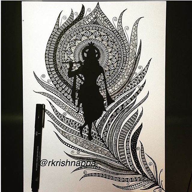 #lordkrishna on peacock feather - zentangle inspired pen art. . . #zenart #zendoodles #zentanglemandalalove #krishna #hindu #hinduism #hinduism_ #theuncommonbox #tattoo #tattoos #tattoopins #tattsketches  #vishu #happyvishu #penart #penandink #inspiroindia #rashmisartshop