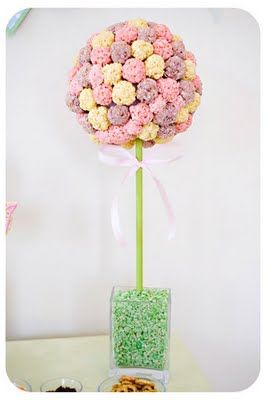 Rice Krispie Treat Topiary how to - use flavored treats?  @ http://www.cuteasafox.com/2011/04/rice-krispie-treat-topiary.html                   These would make great favors for a wedding!!