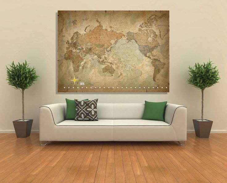 Wall Art Canvas Print (Unframed) - Antique Old Vintage World Map   #Canvas #Abstract