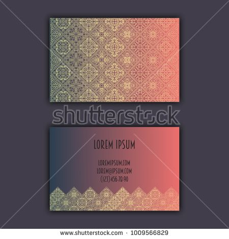 Ornamental mosaic business cards, oriental pattern, foil decorative elements.