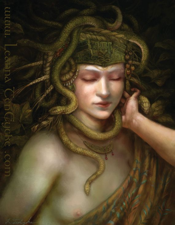 Minoan Snake Goddess Digital Art Fantasy Portrait by bytheoakArt, $13.00