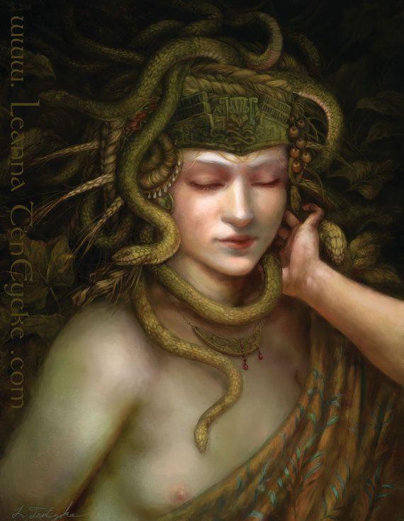 Minoan Snake Goddess Digital Art Fantasy Portrait by bytheoakArt, $17.00