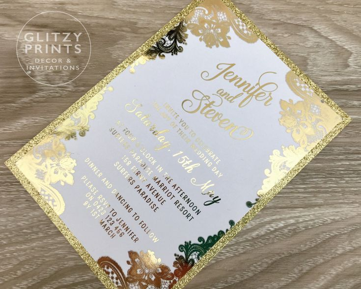 Gold Foil Wedding Invitation, Gold Foil Invitation Sample, Printed Invitations, Gold Glitter Invitation, Lace Invitation, Christening by GlitzyPrints on Etsy  Impress your guests with this bespoke laser cut gold foil invitation. Perfect for a glamorous wedding or any other event.