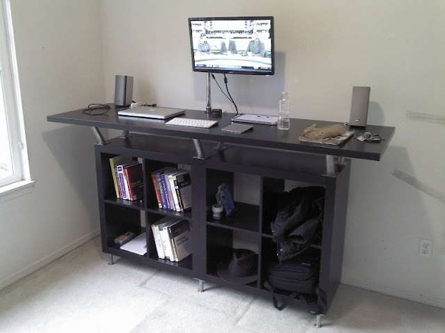 ikea hack standing desk out of expedit shelves capital legs and vika amon table top