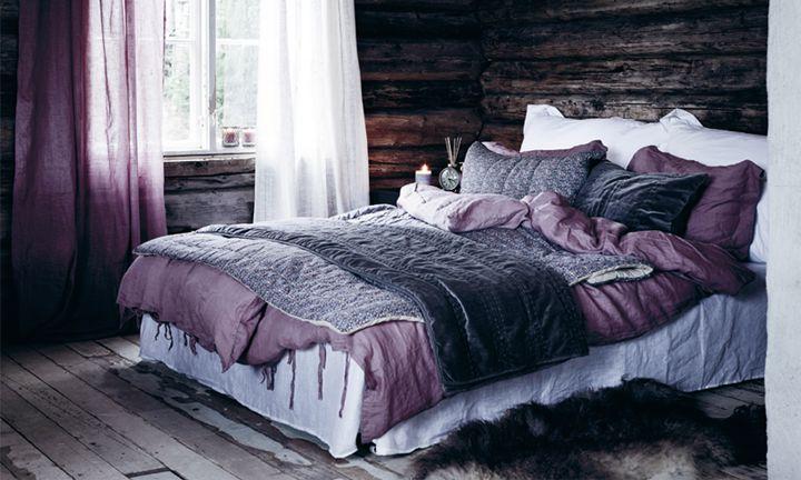 my favorite color in a beautiful dark wood room.. #bedroom