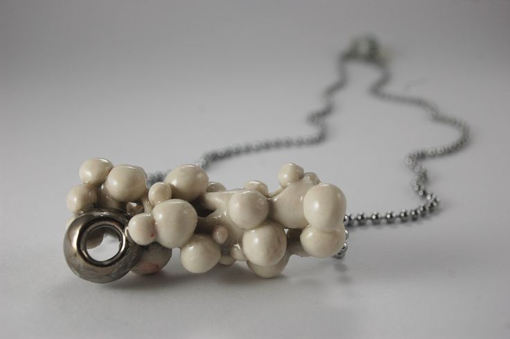 NECKLACE PORCELAIN, PLATINUM, STEEL, HANDMADE UNIQUE