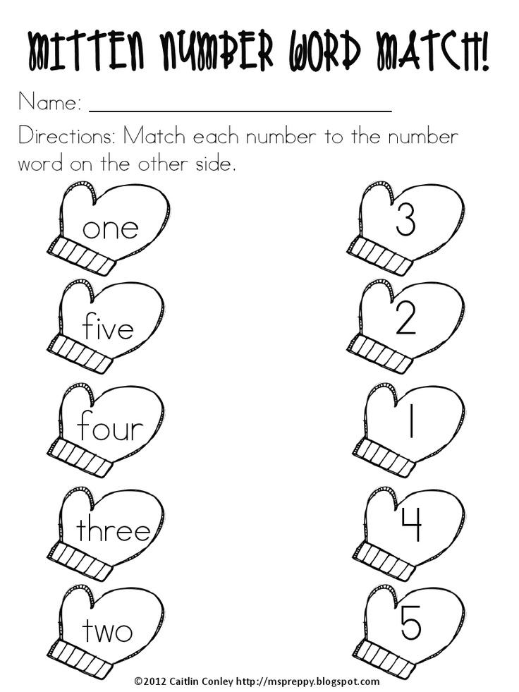 Mitten Number Words Match! Number words, Mitten
