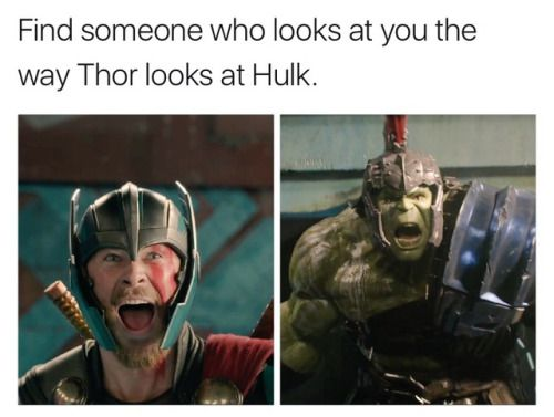 Everyone else would be thinking This dude is going to kill me. Run. But to Thor... .....he is the way out. Salvation for Asgard. And no one else can see it. :)