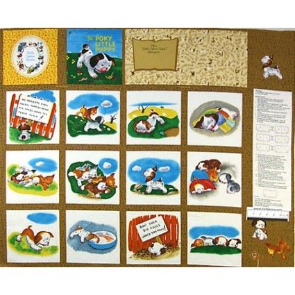 poky little puppy storybook cotton fabric panel