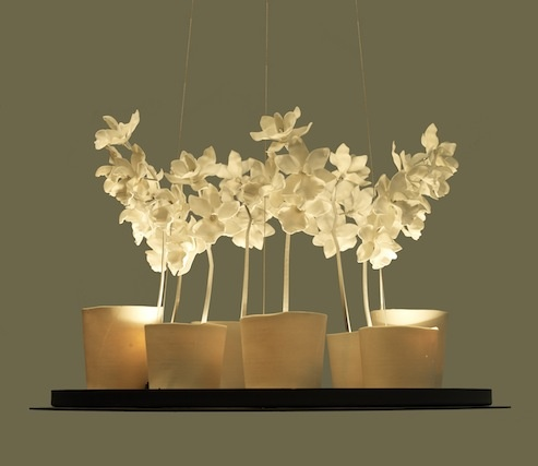 Cymbidium Chandelier By Jeremy Cole Porcelain Orchid White Hanging Light Contemporary Luxury Lighting Available