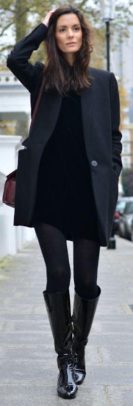 Hedvig Sagfjord Opshaug + little black velvet dress + fall + tights + boots + chic black coat.  Dress: Cos, Boots: Saint Laurent, Coat: Stella McCartney, Tights: Falk, Bag: Balenciaga, Earrings: Annelise Michelson... | Style Inspiration