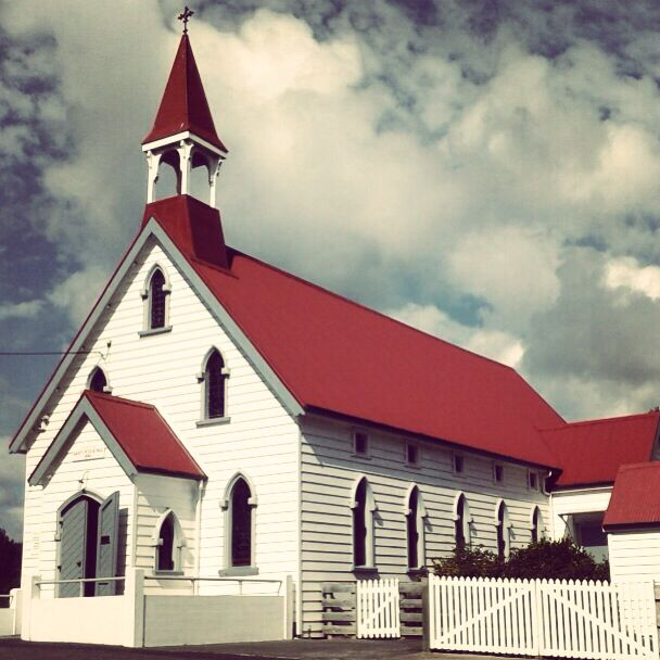 The historic Puhoi church in the heart of the village.