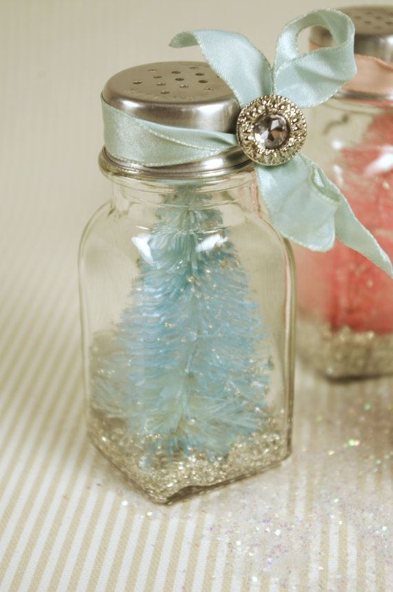 ** Make A Turquoise  Christmas Snowglobe. Place A Bottle Brush Tree Into A Salt Shaker Then Decorate With Fake Snow, Ribbon, And Sparklies @mothsandrustshop