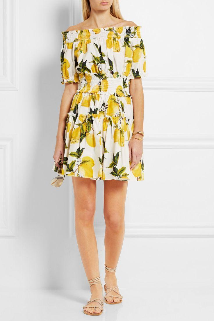Dolce & Gabbana | Smocked printed cotton-poplin mini dress | NET-A-PORTER.COM