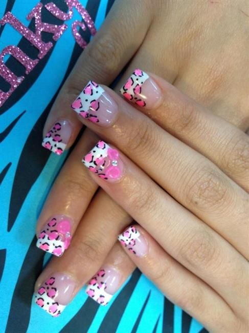 Pink animal print tips w/ pink 3d bow | Nail Art Gallery