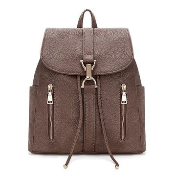 Textured Leather-look Backpack in Coffee with Drawstring