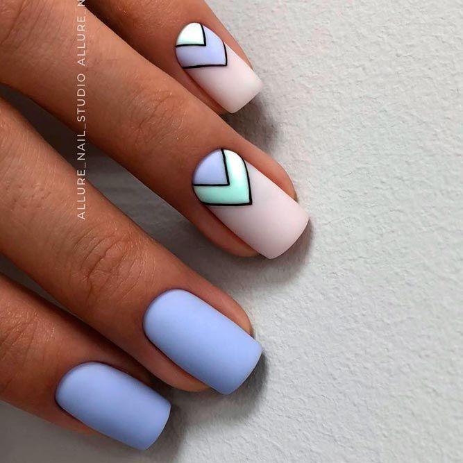 Modern Matte Blue Nail Artwork Designs For Summer time❤ 36 Summer time Nail Artwork Concepts Y…