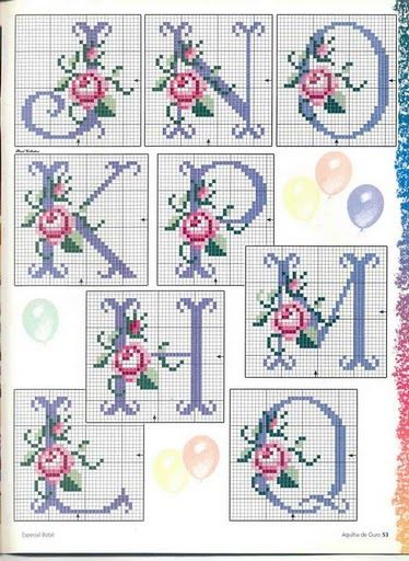 Cross stitch rose alphabet J-Q