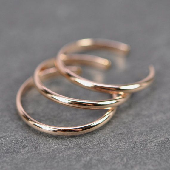 Rose Gold Toe Rings, Set of 3 Stacking, 14K Rose Gold fill, Kristin Noel Designs