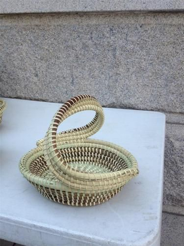 Gullah Sweetgrass Charleston Hand Woven Flair Style S-Handle Multi Use Basket - $125