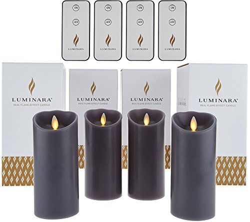 "Set of Four Luminara 6"" Flameless Candles with 4 Remotes and Gift Boxes (Grey)"
