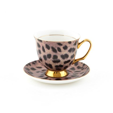 #Cougar #Print #375mL #XL #Teacup and #Saucer #Set | The #bigger teacup you have always wanted! Get yours today at lyndalt.com