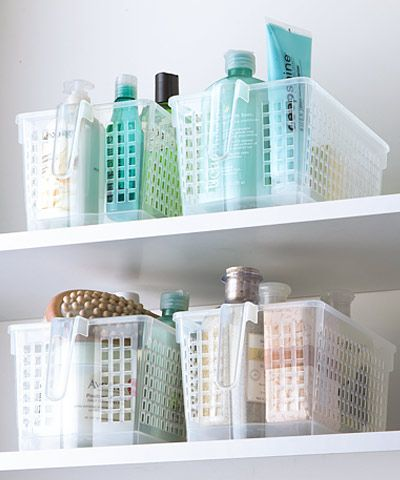 The Container Store - Little baskets for the bathroom!   I love the handles on these!  So much easier to maneuver!