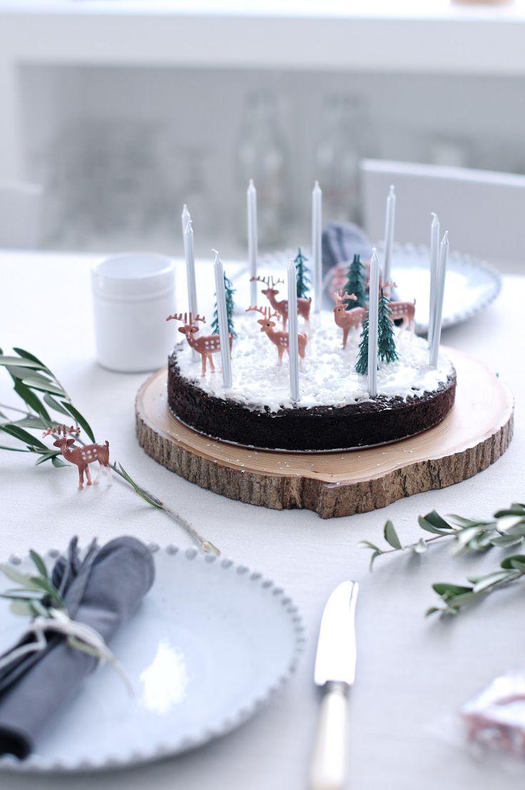 Christmas cake on a wood slice platter