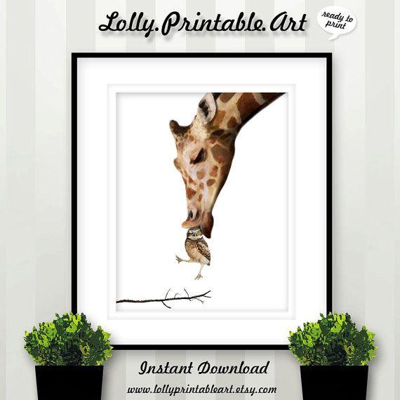 Giraffe LOVE Owl Illustration Download by LollyPrintableArt