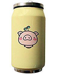 okoukiu Cute Pink Pig amarillo doble vacío aislado botella de agua de acero inoxidable, rosa, 280ml