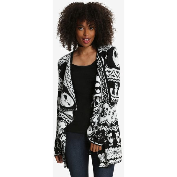 The Nightmare Before Christmas Open Cardigan ($70) ❤ liked on Polyvore featuring tops, cardigans, black and white open cardigan, black and white cardigan, skull print cardigan, skull cardigan and christmas tops