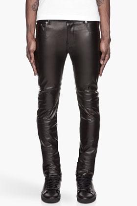 Saint Laurent Black Buffed Leather Pants for men | SSENSE