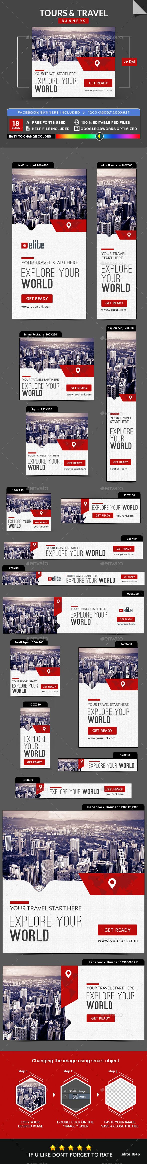 Tours & Travel Banners — Photoshop PSD #coupon #trip • Available here → https://graphicriver.net/item/tours-travel-banners/18062461?ref=pxcr