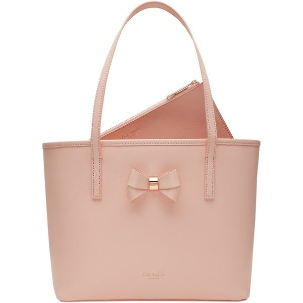 Ted Baker Ritaa Small Bow Detail Leather Shopper Bag , Peach found on Polyvore…