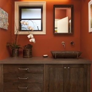 Terracotta Paint Colors Rustic Bathroom with Bold Colors in San Francisco